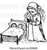 Vector Clip Art of Retro Girl and Dolls in Bed by Prawny Vintage