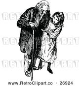 Vector Clip Art of Retro Girl and Grandfather by Prawny Vintage