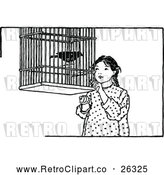 Vector Clip Art of Retro Girl and Pet Bird by Prawny Vintage