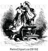 Vector Clip Art of Retro Girl Brushing Her Sisters Hair by Prawny Vintage