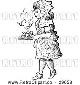 Vector Clip Art of Retro Girl Carrying a Tea Tray by Prawny Vintage