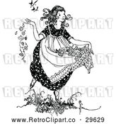 Vector Clip Art of Retro Girl Carrying Flowers in Her Dress by Prawny Vintage