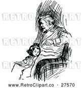 Vector Clip Art of Retro Girl Cuddling with Her Father by Prawny Vintage