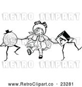Vector Clip Art of Retro Girl Dancing with Toys by Prawny Vintage