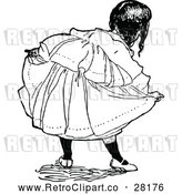 Vector Clip Art of Retro Girl Doing a Curtsy by Prawny Vintage
