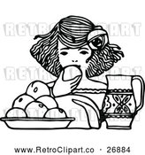 Vector Clip Art of Retro Girl Eating Fruit by Prawny Vintage