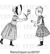 Vector Clip Art of Retro Girl Giving a Friend a Flower by Prawny Vintage
