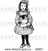 Vector Clip Art of Retro Girl Holding a Bowl by Prawny Vintage