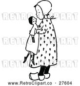 Vector Clip Art of Retro Girl Holding a Doll by Prawny Vintage
