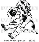 Vector Clip Art of Retro Girl Holding a Puppy by Prawny Vintage