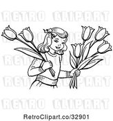 Vector Clip Art of Retro Girl Holding Tulip Flowers in by Picsburg