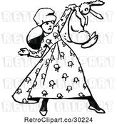 Vector Clip Art of Retro Girl Holding up a Rabbit by Prawny Vintage