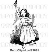 Vector Clip Art of Retro Girl Holding up a Shoe by Prawny Vintage