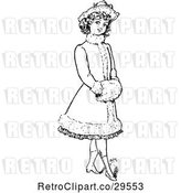Vector Clip Art of Retro Girl in a Fancy Coat by Prawny Vintage