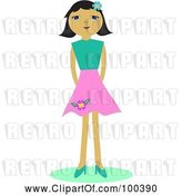 Vector Clip Art of Retro Girl in a Pink Skirt by Bpearth