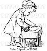 Vector Clip Art of Retro Girl Ironing by Prawny Vintage