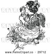 Vector Clip Art of Retro Girl Kissing a Doll by Prawny Vintage