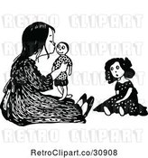 Vector Clip Art of Retro Girl Kissing Her Male Doll by Prawny Vintage