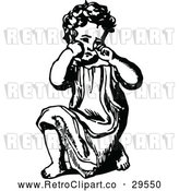 Vector Clip Art of Retro Girl Kneeling and Crying by Prawny Vintage