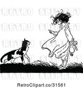 Vector Clip Art of Retro Girl Lecturing a Cat by Prawny Vintage
