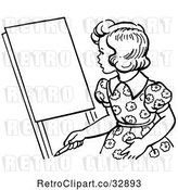 Vector Clip Art of Retro Girl Looking at an Easel in by Picsburg