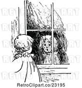 Vector Clip Art of Retro Girl Looking at Her Reflection in a Window by Prawny Vintage