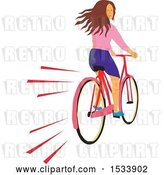 Vector Clip Art of Retro Girl Looking Back While Riding a Bicycle by Patrimonio