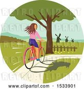 Vector Clip Art of Retro Girl Looking Back While Riding a Bike on a Path by Patrimonio
