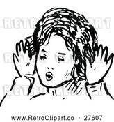 Vector Clip Art of Retro Girl Making a Funny Face by Prawny Vintage
