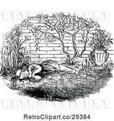 Vector Clip Art of Retro Girl Napping in a Garden by Prawny Vintage