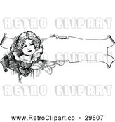 Vector Clip Art of Retro Girl on a Floral Banner by Prawny Vintage
