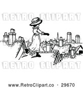 Vector Clip Art of Retro Girl on a Roof by Prawny Vintage