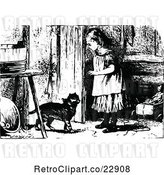 Vector Clip Art of Retro Girl Opening a Door for a Cat by Prawny Vintage