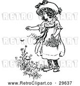 Vector Clip Art of Retro Girl Picking Flowers by Prawny Vintage