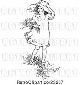 Vector Clip Art of Retro Girl Picking Flowers in the Wind by Prawny Vintage