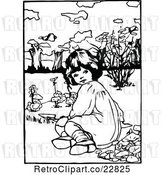 Vector Clip Art of Retro Girl Planting in a Garden by Prawny Vintage