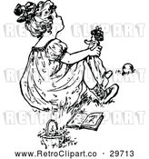 Vector Clip Art of Retro Girl Playing with a Doll 3 by Prawny Vintage