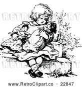 Vector Clip Art of Retro Girl Playing with Dolls by Prawny Vintage