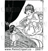 Vector Clip Art of Retro Girl Playing with Her Doll by Prawny Vintage