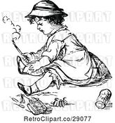 Vector Clip Art of Retro Girl Playing with Matches by Prawny Vintage