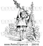 Vector Clip Art of Retro Girl Pulling on a Flower Stalk by Prawny Vintage