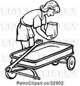 Vector Clip Art of Retro Girl Putting a Bag in a Wagon in by Picsburg