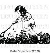 Vector Clip Art of Retro Girl Raking Autumn Leaves by Prawny Vintage