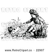Vector Clip Art of Retro Girl Reaching out to a Jumping Cat by Prawny Vintage