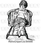 Vector Clip Art of Retro Girl Reading a Letter by Prawny Vintage