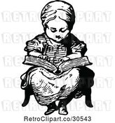 Vector Clip Art of Retro Girl Reading a Story by Prawny Vintage