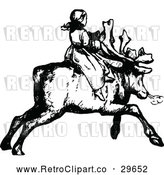Vector Clip Art of Retro Girl Riding a Reindeer by Prawny Vintage