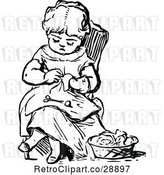 Vector Clip Art of Retro Girl Sewing by Prawny Vintage