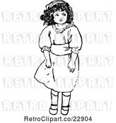 Vector Clip Art of Retro Girl Standing in a Dress by Prawny Vintage
