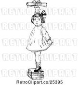 Vector Clip Art of Retro Girl Standing on Books and Reaching for a Certificate by Prawny Vintage